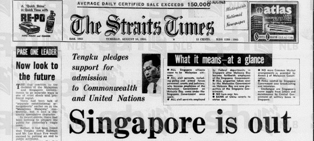 Singapore would later separate from Malaysia entirely in 1965